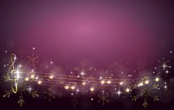 Christmas background decorated with music notes. Purple christmas background decorated with golden music notes vector illustration