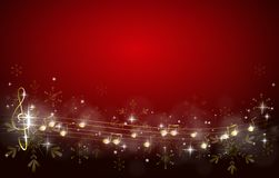 Christmas Music Background.Christmas Background Decorated With Music Notes Stock
