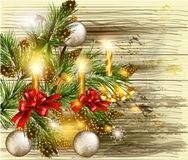 Christmas background with decorated  pine branches on wooden tex Stock Image