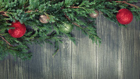 Christmas background with decorated pinetree Royalty Free Stock Photography