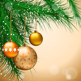 Christmas background. With decorated tree. Vector illustration Royalty Free Stock Photos