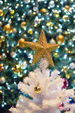 Christmas background with decoration & blurred lights Stock Photo