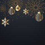 Christmas background with decoration. Christmas background with golden decoration. Holiday christmas dark card with gold snowflakes, balls and firecracker Royalty Free Stock Photos