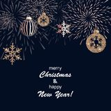 Christmas background with decoration. Christmas background with golden decoration. Holiday christmas dark card with gold snowflakes, balls and firecracker Royalty Free Stock Photo