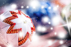 Christmas background, decoration. Christmas balls on a wooden table. Soft focus. Sparkles and bubbles. Abstract background. Vintag Stock Images