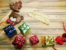 Christmas decoration and chocolate sweet food on vintage wooden Royalty Free Stock Images