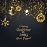 Christmas background with decoration. Christmas background with golden decoration. Holiday christmas dark card with gold snowflakes, balls and firecracker Stock Images