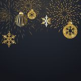 Christmas background with decoration. Christmas background with golden decoration. Holiday christmas dark card with gold snowflakes, balls and firecracker Stock Photo