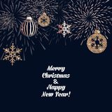 Christmas background with decoration. Christmas background with golden decoration. Holiday christmas dark card with gold snowflakes, balls and firecracker Royalty Free Stock Image