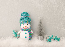 Christmas background decoration. Happy Snowman Royalty Free Stock Photos