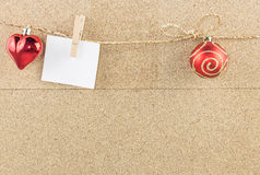 Christmas background with decoration object hanging against wood Stock Photo