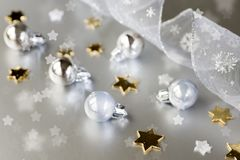 Christmas background. Decoration, ribbon and star Royalty Free Stock Photography