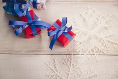 Christmas background with decoration stuff Royalty Free Stock Photo
