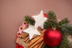 Christmas background with decorations. Royalty Free Stock Images