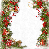 Christmas background with decorations border with bell, holly, p Royalty Free Stock Image