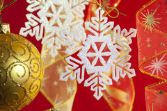 Christmas background with decorations and bow royalty free stock photography