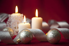 Christmas background with decorations and bow Stock Image