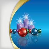 Christmas background with decorations and candles Stock Images