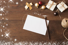Christmas background with decorations. Christmas border design on the wooden background.] Stock Images