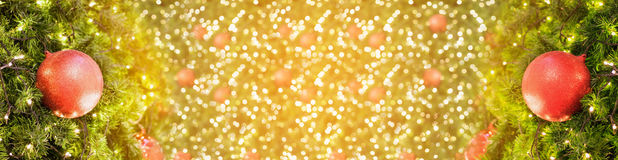 Christmas background with decorations on christmas tree Stock Photography