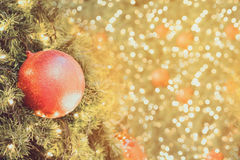 Christmas background with decorations on christmas tree Royalty Free Stock Image