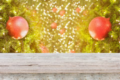 Christmas background with decorations on christmas tree Stock Images