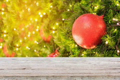 Christmas background with decorations on christmas tree Stock Photos