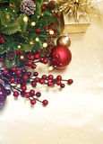 Christmas background with decorations and gift Stock Photos