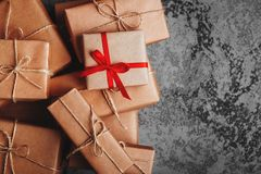 Christmas background with decorations and gift boxes royalty free stock photography
