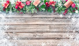Christmas background with decorations and gift boxes Royalty Free Stock Photo