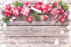 Christmas background with decorations and gift boxes royalty free stock photos