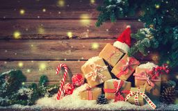 Christmas background with decorations and gift boxes stock photos