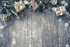 Christmas background with decorations and gift boxes Stock Image