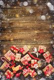 Christmas background with decorations and gift boxes Royalty Free Stock Image
