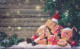 Christmas background with decorations and gift boxes stock photography