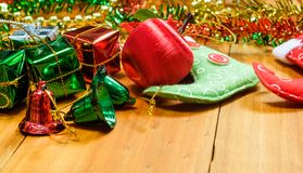 Christmas gifts on wood Stock Images