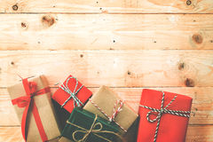 Christmas background with decorations and handmade  gift boxes Royalty Free Stock Photography