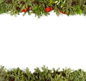 Christmas background with decorations, holly berry, cones isolat Royalty Free Stock Photo