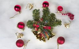 Christmas background with decorations holly and present boxes, ribbon on white. royalty free stock image