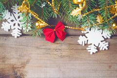 Christmas background 2018. Christmas decorations on old dark boards. Christmas background. New Year background. Xmax background. Christmas tree. Toned image Royalty Free Stock Photography