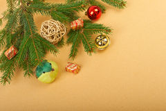 Christmas background. Christmas decorations on paper background Royalty Free Stock Image