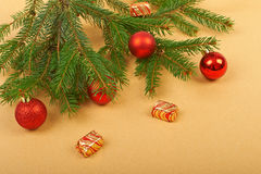 Christmas background. Christmas decorations on paper background Royalty Free Stock Images