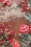 Christmas background. With Christmas decorations on rustic background. Vintage style with blank space Royalty Free Stock Image