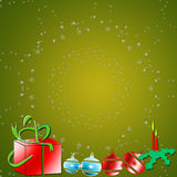 A Christmas background. With decorations and snowflakes with copy space Royalty Free Stock Photography