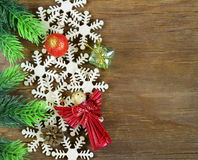 Christmas background decorations and snowflakes Stock Image