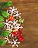 Christmas background decorations and  snowflakes Royalty Free Stock Photos