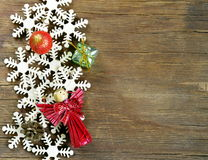 Christmas background decorations and  snowflakes Stock Photography
