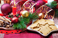 Christmas background with decorations. Christmas spices and cookies background. Still life Stock Image