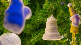 Christmas background and christmas decorations white bell with beautiful pine tree royalty free stock photo