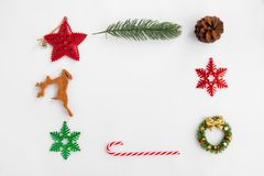 Christmas Background with decorations on white paper. stock photo